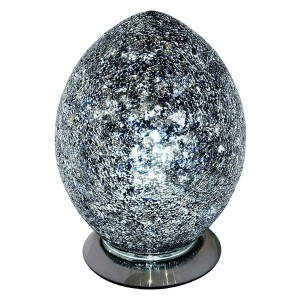 Mosaic Glass Egg Lamp - Black