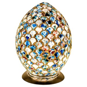 Mosaic Glass Egg Lamp - Blue Tile