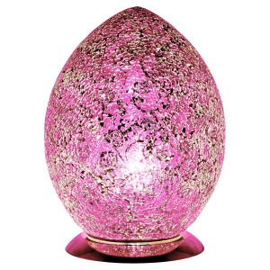 Mosaic Glass Egg Lamp - Pink Rose