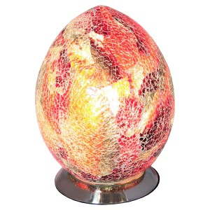 Mosaic Glass Egg Lamp - Red