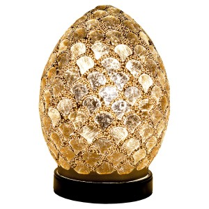 Mini Mosaic Glass Egg Lamp - Distressed Gold Tile