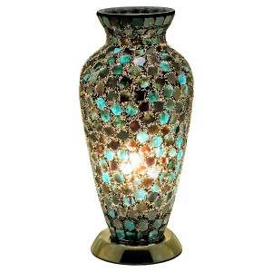 Mosaic Glass Vase Lamp - Dark Green