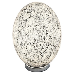 Large Mosaic Glass Egg Lamp - White