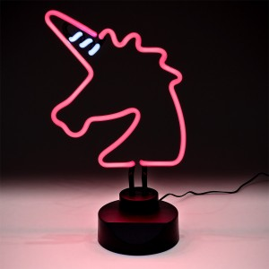 Neon Pink Unicorn Table Lamp - Turned On