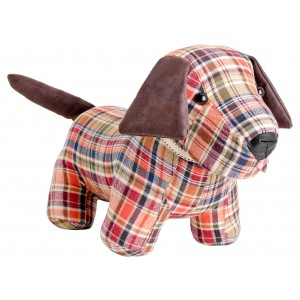 Red Tartan Doggy Door Stop Plush