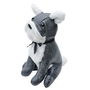 Grey Bulldog Door Stop Plush