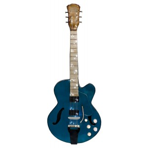 Blue Light Up Guitar 3D Metal Wall Art