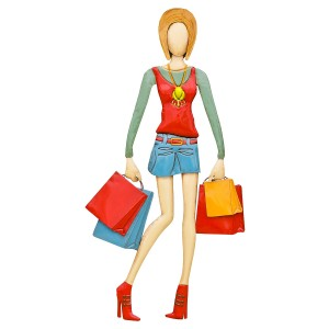 Julie Shopping Lady 3D Metal Wall Art