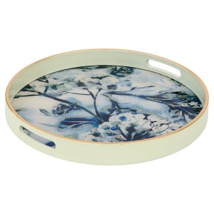 Circular White Tray With Flower Design