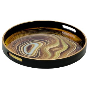 Circular Black Tray With Sand Design