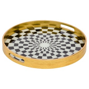 Circular Gold Tray With Chequer Design