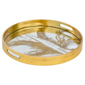 Circular Gold Tray With Mirrored Leaf Design