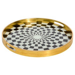 A Large Circular Gold Tray With Chequer Design
