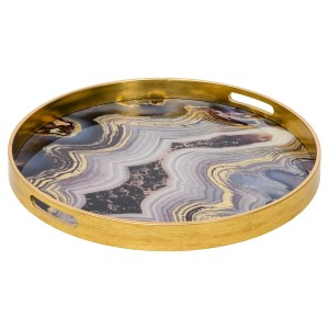 A Large Circular Gold Tray With An Oyster Design