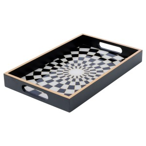 Rectangular Black Tray With Chequer Design