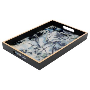 Large Rectangular Black Tray With Flower Design