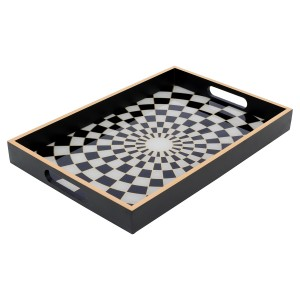 Rectangular Black Tray With Chequer Design - Large