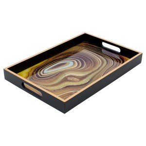 Rectangular Black Tray With Sand Design - Large
