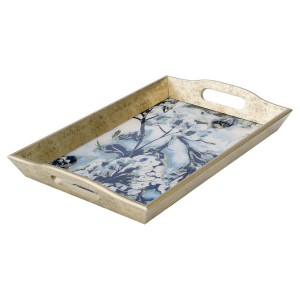 Rectangular Antique Gold Tray With Flower Design