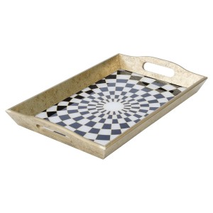 Rectangular Antique Gold Tray With Chequer Design
