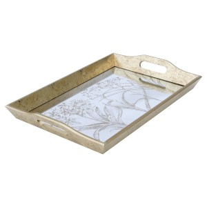 Large Rectangular Antique Gold Tray With Leaf Design