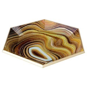Hexagonal Gold Tray With Sand Design