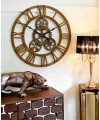 Large Round Wooden Cog Wall Clock in our Showroom