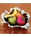 Ceramic Lotus Leaf  Bowl with Mosaic Glass Fruit in our showroom