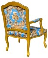 Regence Arm Chair in Romano Azure Blue Fabric and Gold Frame Back