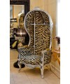 Porters Chair in Silver with Gold Tiger fabricon display in our Showroom