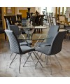 Madelina Fabric Dining Chairs in our Showroom