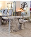 Newcastle Grey Marble Console Table & Lamp Table in our Showroom