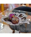 Ceramic Lotus Leaf  Bowl with Mosaic Glass Ball Decorations