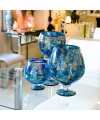 Blue Mosaic Glass Hurricane Large Vase in our showroom