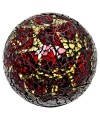 Mosaic Glass Ball - Red & Gold - Large