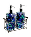 Mosaic Glass Soap Dispensers - Blue Design