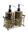 Mosaic Glass Soap Dispensers - Gold Design