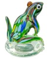 Glass Green Jungle Frog Paperweight