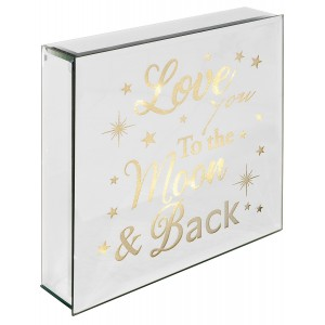 Love You To The Moon And Back - Light Up Mirrored Plaque