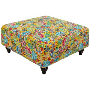 Square Yellow Flower Pattern Pouffe