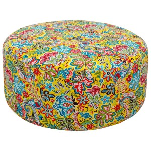 Round Yellow Flower Pattern Pouffe