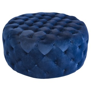 Round Navy Blue Fabric Pouffe