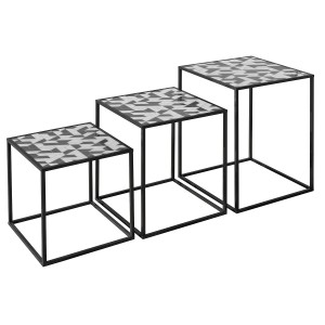Nest of Three Tables (Set of 3) - Geometric Top