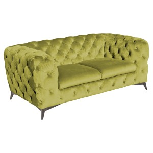 Deep Button Green Two Seater Sofa