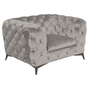 Deep Button Grey Arm Chair