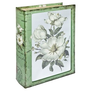 Mirrored White Flower Storage Book Box