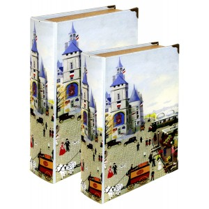 Village Scene Storage Book Box (set of 2)