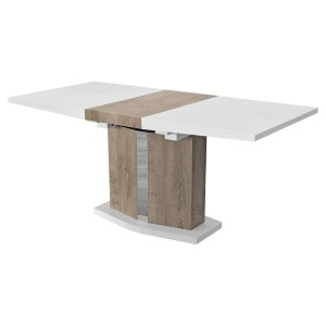 High Gloss White and Wood Effect Extending Dining Table