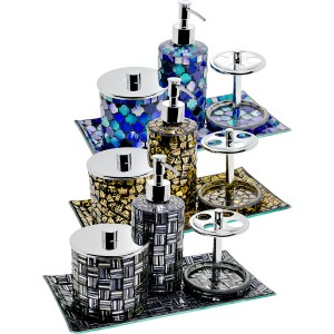 Mosaic Glass Bathroom Set of Four