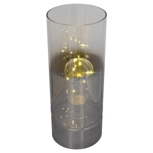 LED Wire Tall Glass Bulb Table Lamp